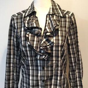Spenser Black & White Check Ruffled Blouse Size M